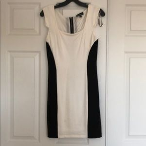 White & black form fitted dress.